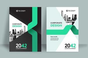 Modelo de Design de capa de livro de negócios de fundo cidade curva verde
