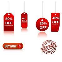 Conjunto de adesivos de etiqueta de venda vermelho vetor