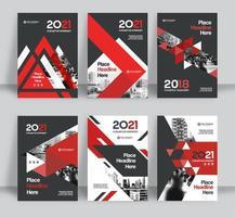 Conjunto de modelo de Design de capa de livro de negócios fundo vermelho e cinza cidade vetor