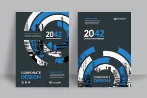 Modelo de Design de capa de livro de negócios de fundo azul e branco Circular cidade vetor
