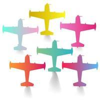 Ícone de avião colorido com conjunto de fumaça de escape vetor