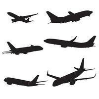 Conjunto de silhueta de avião vetor