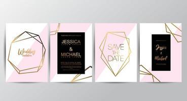 Cartões de convite de casamento de luxo Premium rosa vetor