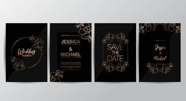 Conjunto de convite de casamento de luxo preto Premium