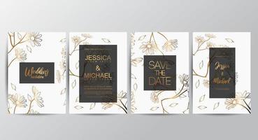Conjunto de convite de casamento Floral luxo premium