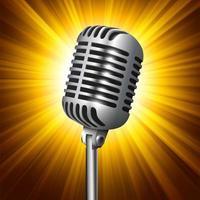 Microfone de estúdio de metal vintage