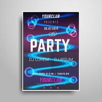 Modelo de cartaz de festa de néon vetor