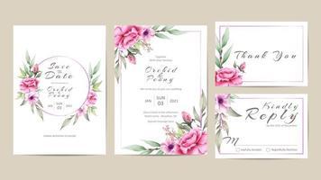 Conjunto de modelo de convite de casamento de flores em aquarela