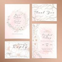 Conjunto de modelo de convite de casamento de flor anêmona delineada