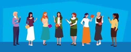 grupo de avatares de meninas de professores