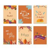 Conjunto de cartões de ação de graças