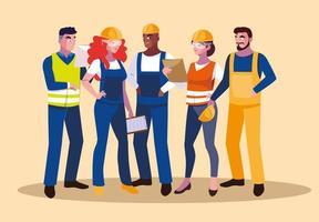 conjunto de trabalhadores profissionais vetor