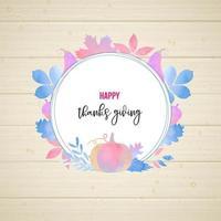 Design de moldura de estilo aquarela de ação de Graças