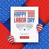 Modelo de promoção de venda feliz dia do trabalho vetor