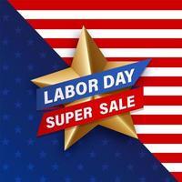 Molde da promoção da venda da estrela do ouro do Dia do Trabalhador vetor