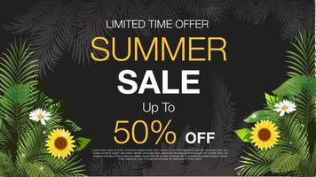 Cartaz de desconto de venda de verão floral