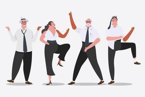 Equipe de negócios dançando vetor