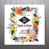 Flor de modelos de cartão de convite de casamento vetor