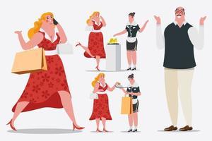 Personagem de desenho animado Mulheres às compras vetor