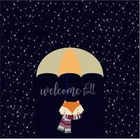 cartão de boas-vindas queda com raposa e chuva vetor