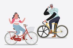 Homens e mulheres andando de bicicleta vetor