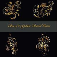 Conjunto de 4 cantos de redemoinho decorativo dourado vetor