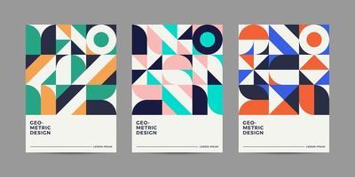 Design de capas geométricas retrô vetor