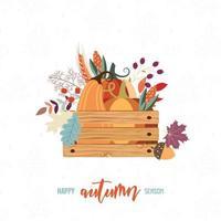 Cartão de colheita com caixa de itens de outono vetor