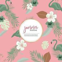 Padrão de verão na cor rosa com flamingos verdes e folhagens