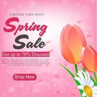 Print Spring Sale Banner Design com tulipas