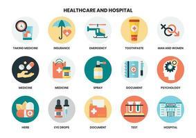 Ícones de hospital e saúde