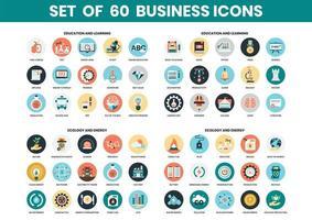 Conjunto de ícones de educação e ecologia