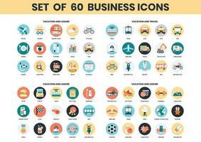 Conjunto de ícones de férias, lazer e viagens
