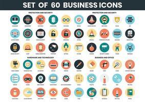 Conjunto de ícones de segurança, tecnologia e negócios