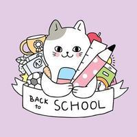 Desenhos animados bonitos de volta ao gato da escola e ao vetor estacionário.
