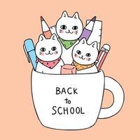 De volta aos gatos da escola em uma caneca vetor