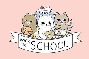 Desenhos animados bonitos de volta ao vetor dos gatos da escola.