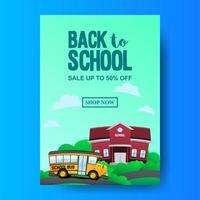 A4 atrás para promoção de oferta de venda escolar com escola de ônibus e paisagem construindo vetor
