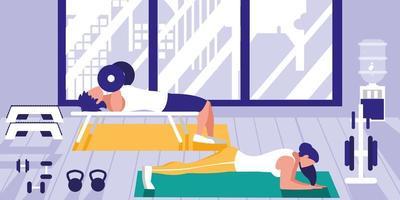 jovem casal Atlético fazendo flexões no peito no ginásio