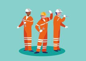 grupo de trabalhadores industriais avatar personagem vetor