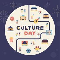 Ícones de construção e cultura do dia da cultura vetor