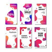 6 conjunto de panfleto de venda de mídia social