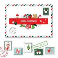 Conjunto de envelope e selos postais de Natal