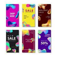 Conjunto de gradiente de 6 panfleto de venda de mídia social