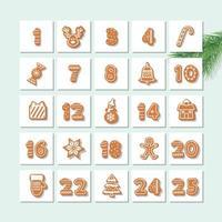 Calendário do advento de Natal vetor
