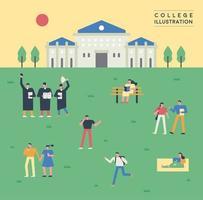 Alunos no gramado do campus da faculdade vetor