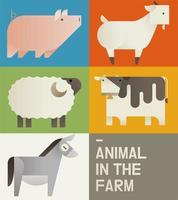 Cartão bonito dos animais de fazenda vetor