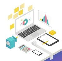 Design isométrico com laptop e material de escritório