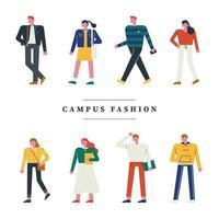 Personagens da moda do campus. vetor