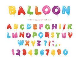 Fonte colorida de balão vetor